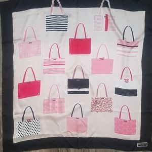 Kate spade 100% silk pink and black scarf sam bag